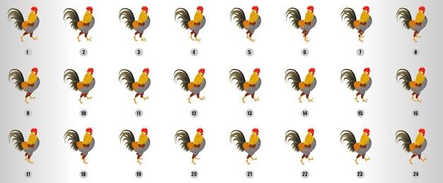 Vecteur de séquence d'animation de cycle de marche de coq