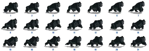 Vecteur de séquence d'animation de cycle de marche de gorille