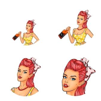 Vecteur série d'avatars féminins dans un style pop art