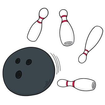 Vecteur série de boule de bowling et broche