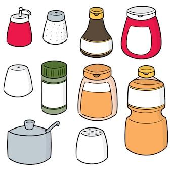 Vecteur série de bouteilles de condiments