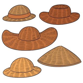 Vecteur série de chapeau de paille