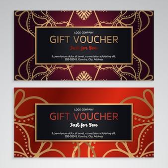 Vecteur série de chèques cadeaux de luxe rouge