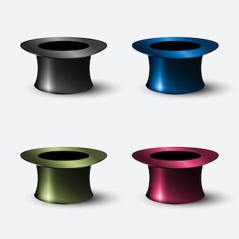 Vecteur série de cylindre de chapeau réaliste d'éléments