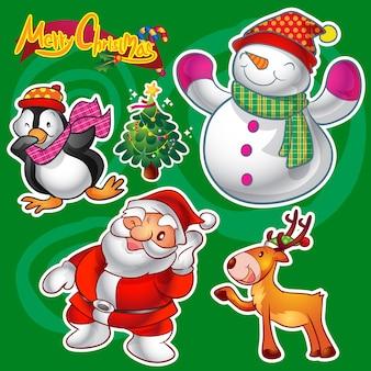 Vecteur série de décorations et de personnages de noël mignons colorés