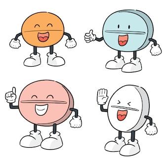 Vecteur série de dessin animé de pilule