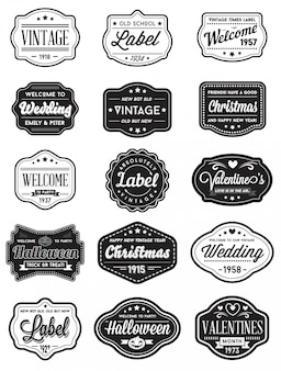 Vecteur série d'étiquettes de conception premium style rétro vintage