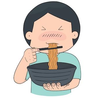 Vecteur série d'homme mange des nouilles