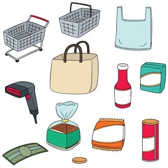 Vecteur série d'icône commerçante