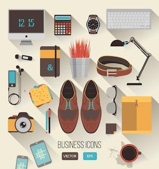 Vecteur série d'icônes d'affaires au design plat
