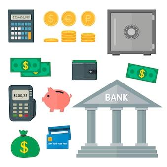 Vecteur série d'icônes de finances plat