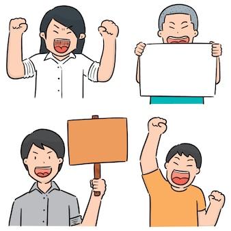 Vecteur série de manifestant