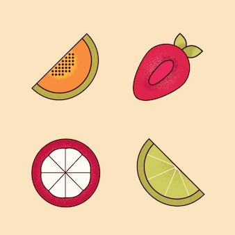 Vecteur série de morceaux de dessin animé coloré d'icône de fruits
