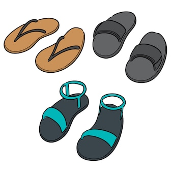 Vecteur série de pantoufles