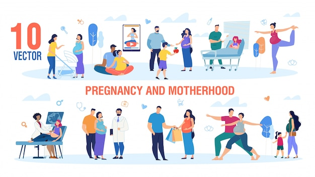 Vecteur série de personnages de grossesse et de maternité