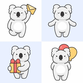 Vecteur série de personnages mignons de koala