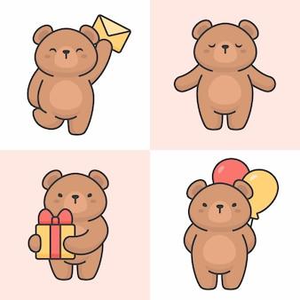 Vecteur série de personnages ours mignons