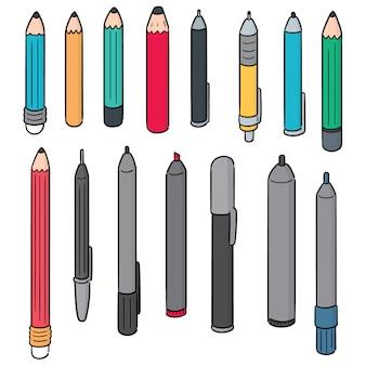 Vecteur série de stylo et crayon