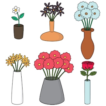 Vecteur série de vase à fleur