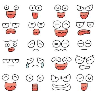 Vecteur série de visage de dessin animé