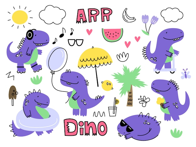 Vecteur sertie de dinosaures. isoler. style de bande dessinée