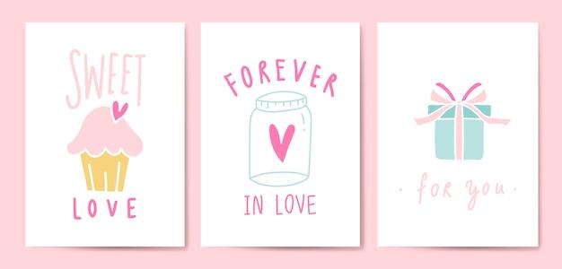 Vecteur de set de cartes postales expressions amour