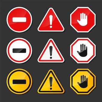 Vecteur de signe d'avertissement de danger rouge et noir avec le point d'exclamation au milieu. isoler sur fond.