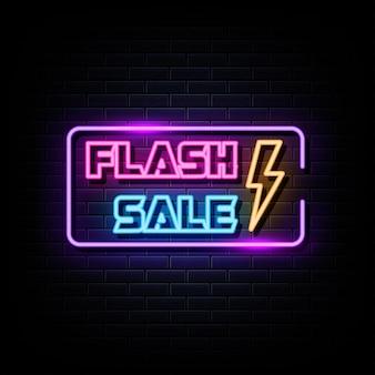 Vecteur de signe de logo néon vente flash