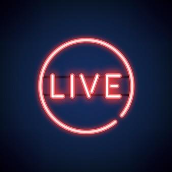 Vecteur de signe de néon live rouge