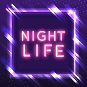 Vecteur de signe de vie nocturne rose