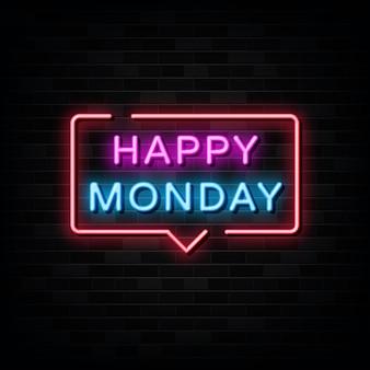 Vecteur de signes au néon heureux lundi. modèle de conception de style néon