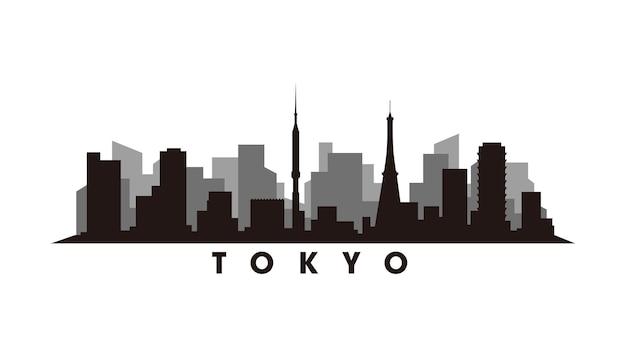 Vecteur de silhouette d'horizon de tokyo