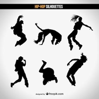 Vecteur silhouettes de danse de rue