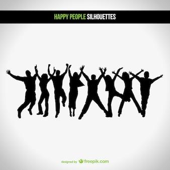 Vecteur silhouettes heureux