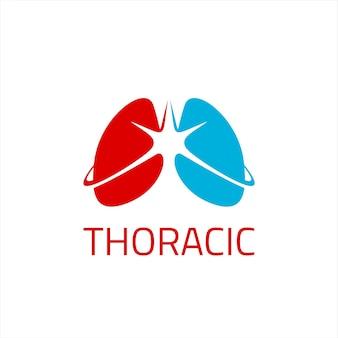 Vecteur simple de logo de poumon thoracique
