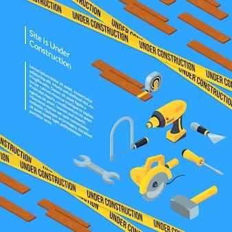 Vecteur sous construction outils isométrique avec modèle de texte
