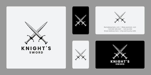 Vecteur spartiate de conception de logo de chevalier d'épée