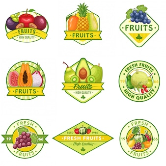 Vecteur stock ensemble de logo de fruits