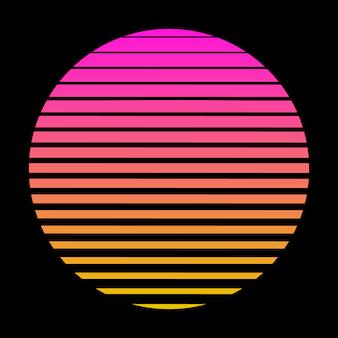 Vecteur stock soleil grille 3d futuriste synthé grille illustration