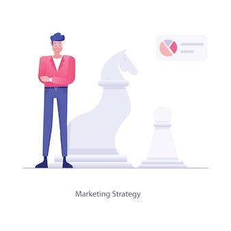 Vecteur de stratégie de marketing de politique promotionnelle d'entreprise en illustration plate