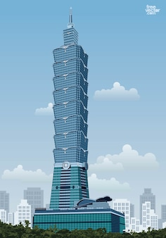 Vecteur de la structure du gratte-ciel taipei