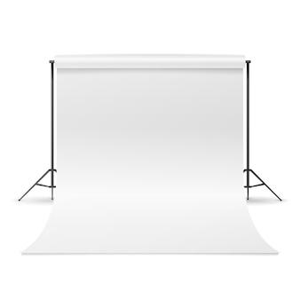 Vecteur studio de photographie. nettoyer la toile blanche isolée. illustration réaliste.
