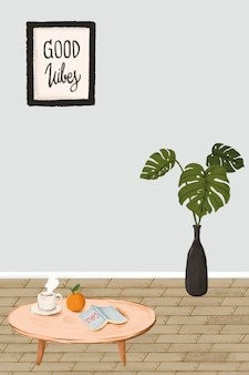 Vecteur de style de croquis intérieur maison minimale