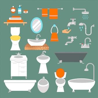 Vecteur de style plat éléments de salle de bain et de toilette isolé