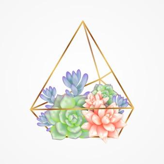 Vecteur succulents terrarium