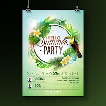 Vecteur summer beach party flyer design