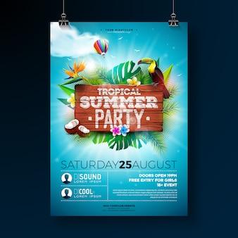 Vecteur summer beach party flyer design