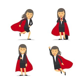 Vecteur de super-héros de femme d'affaires