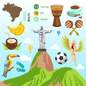 Vecteur des symboles du brésil et de rio.
