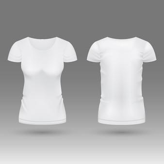 Vecteur de t-shirt blanc réaliste 3d femme blanche